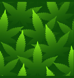 Marijuana leaves seamless pattern bright green vector