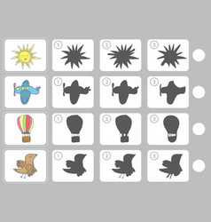 Match shadow - worksheet for education vector
