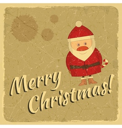 Merry Christmas retro card with Santa Claus vector image