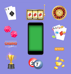mobile casino game kit isolated vector image