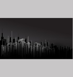 Modern dark night city horizon scape sky scraper vector