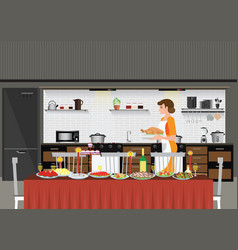 Mom woman cooking in kitchen preparing food vector
