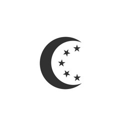 moon and stars in circle moonlight isolated on vector image