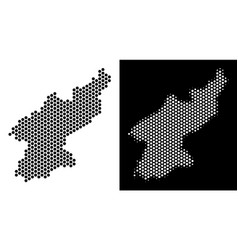 North korea map hex-tile mosaic vector