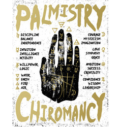 Palmistry chiromancy - black hand on a white vector