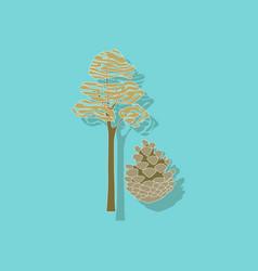 Paper sticker on stylish background plant pinus vector