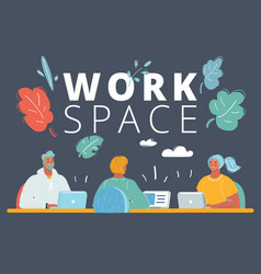 people in creative office co-working center vector image