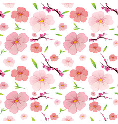 pink hibiscus and sakura seamless background vector image