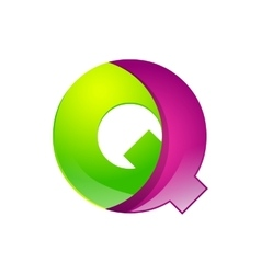 Q letter green and pink logo design template vector image