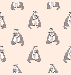 seamless pattern with cute hugging badgers with vector image
