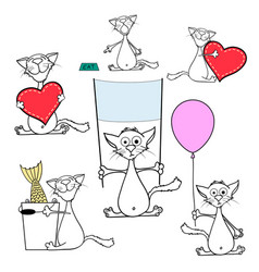 set doodle cats isolated on white background vector image
