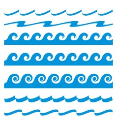 Set of blue water waves icon vector image