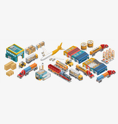 Set of freight transport and industrial facilities vector