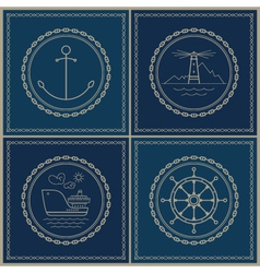 Set of marine emblem vector image