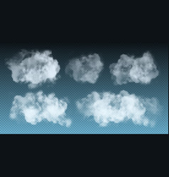 set realistic isolated fluffy cloud vector image