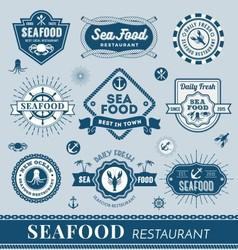 Set seafood restaurant logo banner design vector