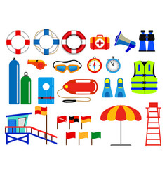 Set various lifebuoy isolated or lifeguard vector
