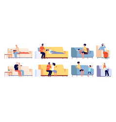 Sick and recovery people ill person on couch vector