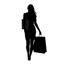 silhouette woman with shopping bags vector image