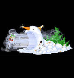 Snowmen traffic freeze vector