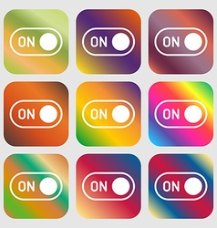start icon sign Nine buttons with bright gradients vector image