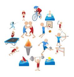 summer sport cartoon icons set vector image