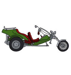 The green heavy motor tricycle vector