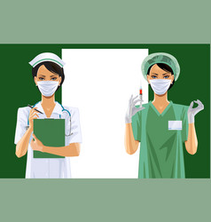 Two nurses in uniform and medical icon set vector