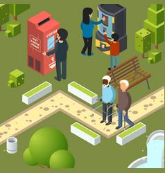 vending machines urban park breakfast area vector image