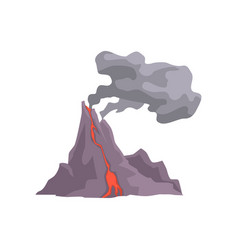 Volcano eruption with hot lava magma and dust vector