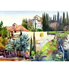 Watercolor landscape with trees and houses vector