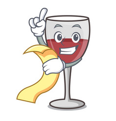 With menu wine mascot cartoon style vector