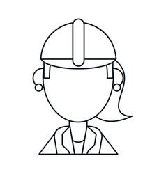 Woman work helmet thin line vector