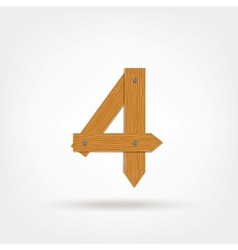 Wooden Boards Number Four vector image