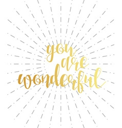 You are wonderful calligraphy phrase Quote vector image