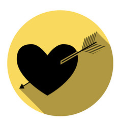 arrow heart sign flat black icon with vector image vector image