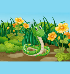 Green snake in garden vector