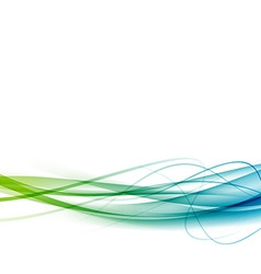 Green to blue line swoosh abstract background vector image vector image