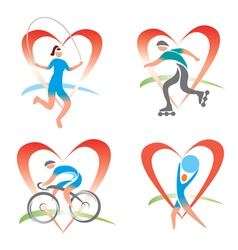Icons I love fitness vector image vector image