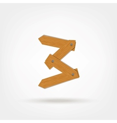 Number three made from wooden boards for your vector image vector image