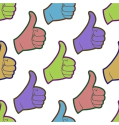Seamless pattern with thumbs up sign vector image