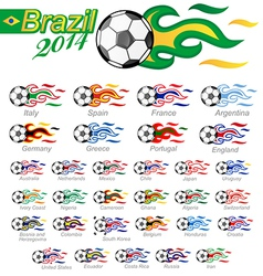soccer ball set with flag flame vector image vector image