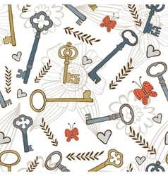 Stylish seamless pattern with vintage keys vector image vector image