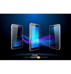 three smartphones vector image vector image