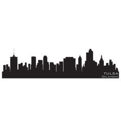 Tulsa oklahoma skyline detailed silhouette vector
