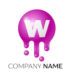 w letter splash logo purple dots and bubbles vector image vector image