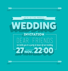 Wedding invitation blue typography vector image vector image