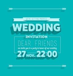 Wedding invitation blue typography vector image