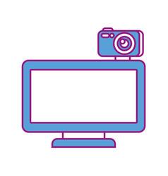 computer monitor with camera web gadget vector image vector image