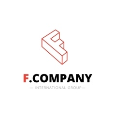 Isometric line style f letter logo company vector